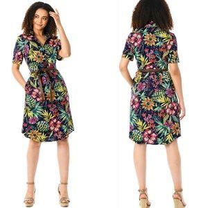 Eshakti Tropical Floral Print Belted Shirtdress